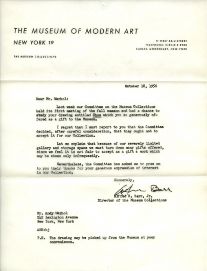 Design Fodder (Andy Warhol's MoMA Rejection Letter) #andy #warhol #moma #letterhead #rejection