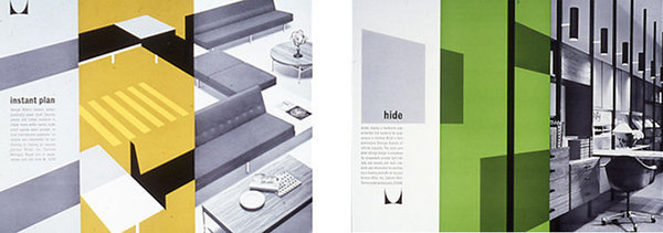 """2: Magazine Advertisements: """"Instant Plan,"""" 1963; """"Hide Clutter,"""" 1963.   How Design Legend Irving Harper Created The Herman Miller Logo #miller #irving #harper #advertising #ad #layout #herman #editorial"""