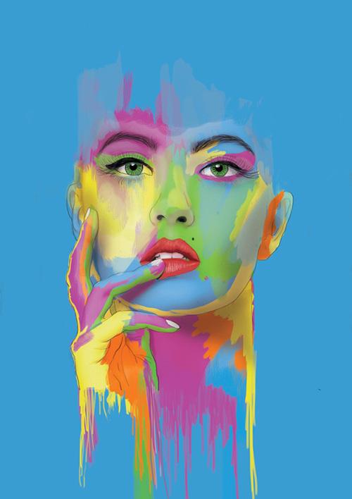 Mixed Media Illustrations 2014 on Behance #girl #head #hand #paint #illustration #portrait #poster #colour #multicolour