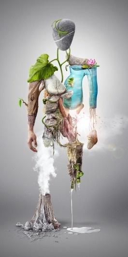 NatureMan - Digital illustration on the Behance Network #photo #illustration #nature #manipulation #composite #man