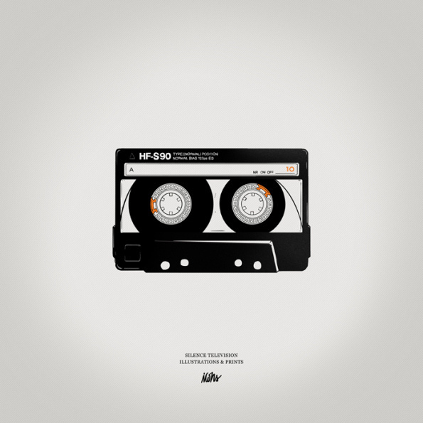 Silence Television new vintage prints #white #cassette #print #black #illustration #vintage #and #music #bw