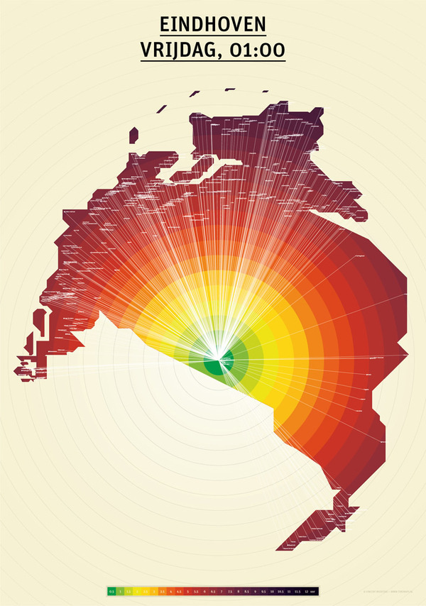 TIMEMAPS - Eindhoven 01:00h #netherlands #timemaps #map #the