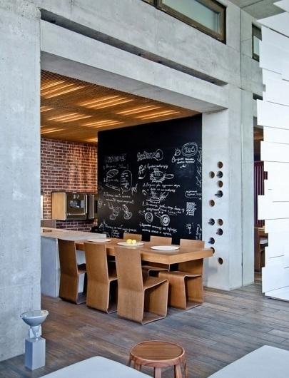 Xote #interior #concrete #caf #storage #blackboard #wine #restaurant