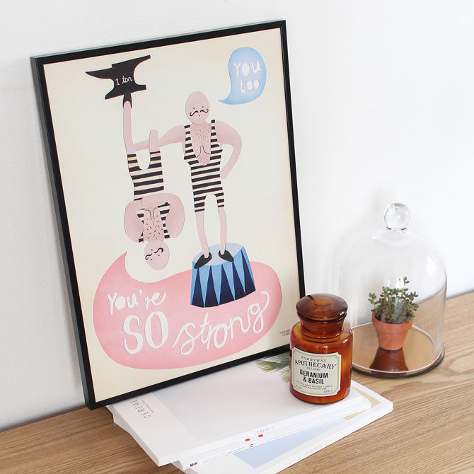 #nordic #design #graphic #illustration #danish #bright #simple #nordicliving #living #interior #kids #room #poster #strong #man #circus