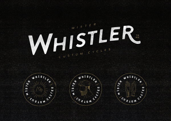 Mr Whistler Custom Cycles #line #cycles #mac #kyle #illustration #whistler #mr #custom #logo #drawing #sketch #typography