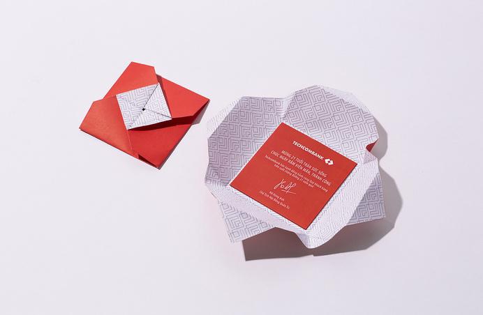Post card Techcombank designed by Bratus #post #vietnam #pattern #branding #stationary #business #card #print #design #graphic #geometric #origami #identity #techcombank