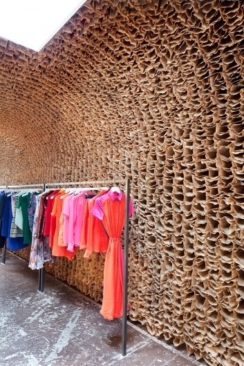tacklebox: OWEN store interior composed of 25,000 brown paper bags #interior #brown #bags #fashion #paper