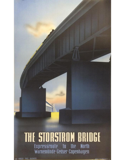 Aage Rasmussen, travel poster Storstrom Bridge, 1930s. #old #travel #poster #1930