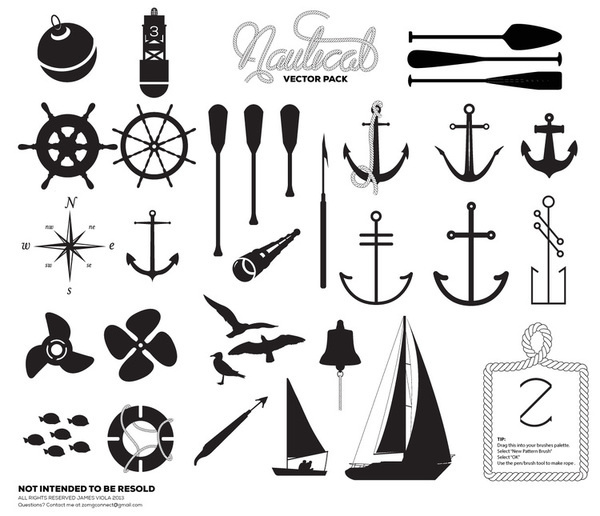 Premium Nautical Vector Pack - Registrationblack.com #ocean #vector #seagul #design #rope #sail #set #sea #pack #custom #anchor #nautical