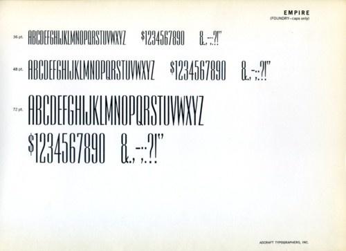 Daily Type Specimen | Empire was designed by Morris Fuller Benton for... #type #specimen #typography