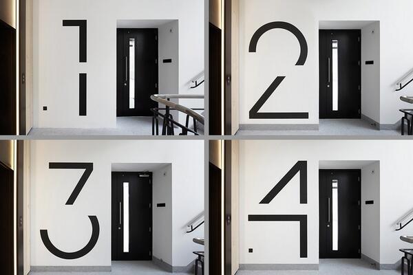 Bespoke floor numbers. Pic courtesy of Jack Hobhouse. #signage #graphic #inspiration #design