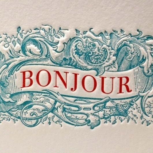 Bonjour Greeting Card in Blue/Red by letterpress on Etsy #serif #banner #letterpress #vintage