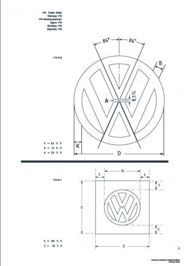 Recreated-Vintage VW Logo Specification Poster For Download | your creative logo designer #logo #guidelines