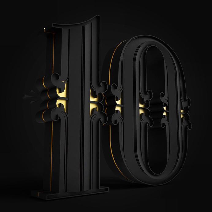 number, 10, ornate, shape, gold