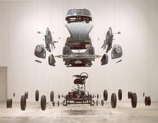 Damián Ortega «Cosmic Thing» 2002. | Φrbit° sφaceφlace :: art in the age øf Φrbitizatiøn #explosion #installation #damian #art #ortega #car