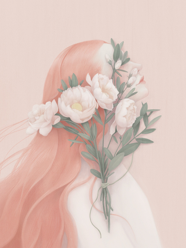 portraits - Hsiao Ron Cheng #rose #design #hair #illustration #painting #art #flower #pastel