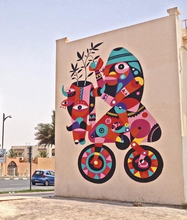 An Introduction to Street Art in Dubai, United Arab Emirates StreetArtNews #dubai #bicycle #street #wall #art #painting #colour