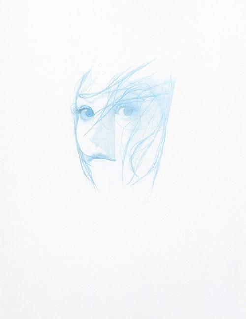 Artist Steve Kim #stare #white #girl #eyes #minimalism #hair #illustration #blue #drawing