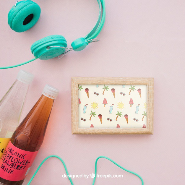 Summer decoration with frame and organic juice bottles Free Psd. See more inspiration related to Frame, Mockup, Summer, Template, Holiday, Bottle, Mock up, Decoration, Drink, Juice, Organic, Pineapple, Decorative, Vacation, Headphones, Templates, Aloha, Up, Season, Bottles, Composition, Mock, Summertime and Seasonal on Freepik.
