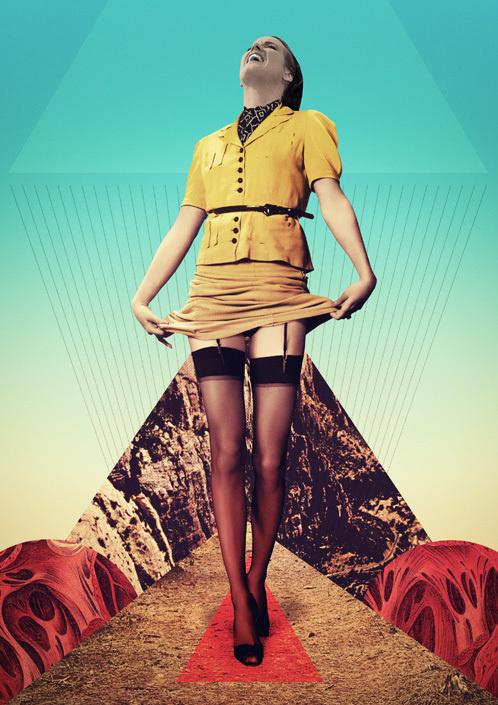 Julien Pacaud / The Tulip / colagene.com #woman #montage #photo #legs #geometric #illustration #dress #vintage #laugh #surrealistic