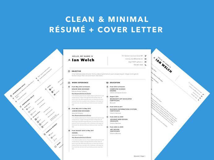 Free Simple Sketch Resume Template with Matching Cover Letter