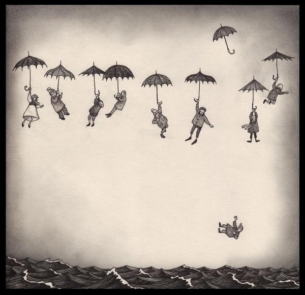 breeze01.jpg (1200×1160) #ocean #umbrellas #falling #people #floating #illustration #sea