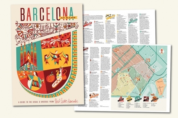 Barcelona At Ease | Herb Lester #illustration #barcelona #travel #map