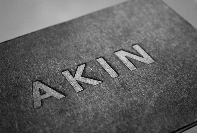 Akin by Alphabet #logo #embossed