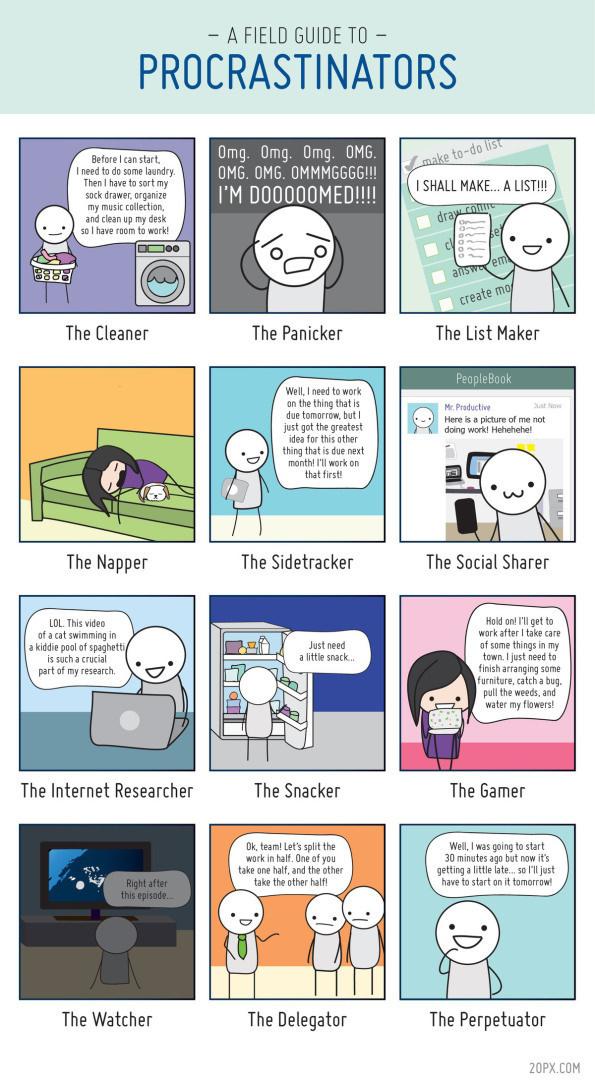 12 types ofprocrastinators #infographic #comic #grid #procrastination #funny