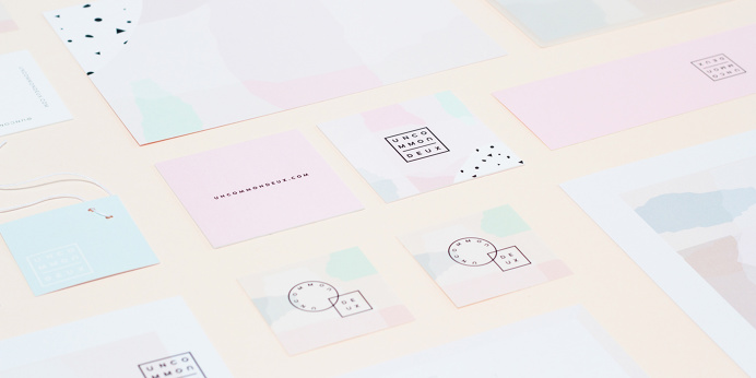 Uncommon deux branding kati forner beautiful minimal mindsparkle mag soft color colors pink baby blue graphic design print letterhead busine