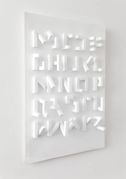 Typeverything.comn3d typeface (only visible from one angle) by Stefan Abrahams.n(viavisual-poetry) #optical #letters #typo #3d