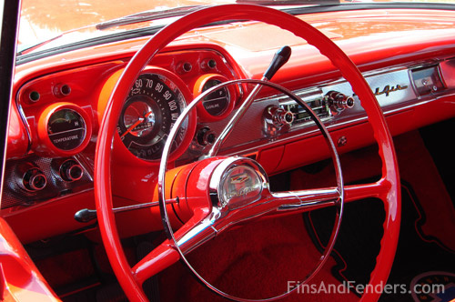 red vintage interior, car interior, classic car photography