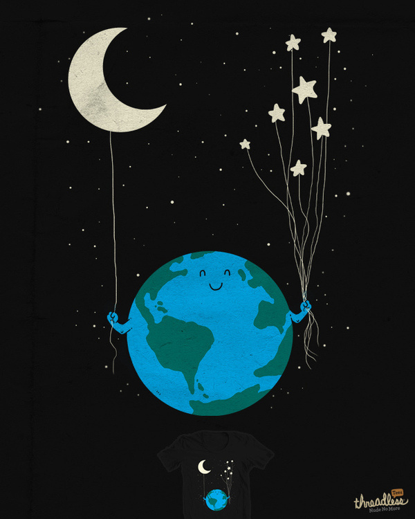 It's been printed! http://www.threadless.com/submission/388624/Under_the_moon_and_stars #illustration #design #graphic