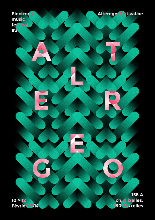 A L T E R E G O #green #pink #flyer #shapes #artwork #poster #type #typography