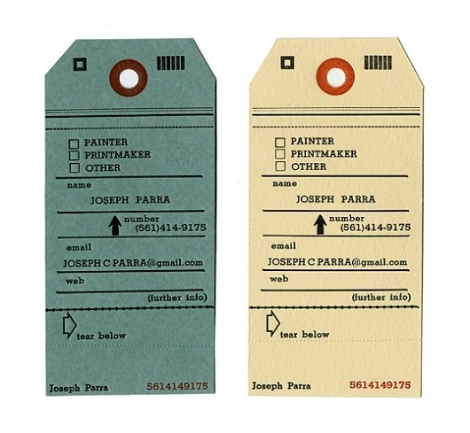 Joseph Parra : Lovely Stationery . Curating the very best of stationery design #business #card #letterpress #tag #identity #luggage #joseph #parra