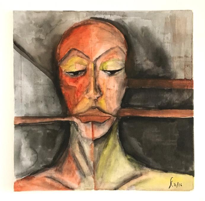 "Red Claw Design –New Artwork: Acrylic on Canvas (50 x 50 cm) - ""Birthmark"""