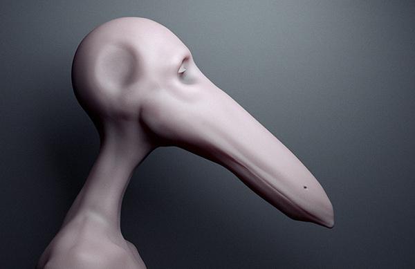 Draft on Behance #model #design #bird #human #zbrush #animal #beak #character #3d
