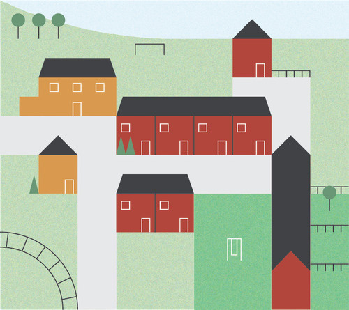 Hometown #vector #house #town #map #illustration #swing #football #village