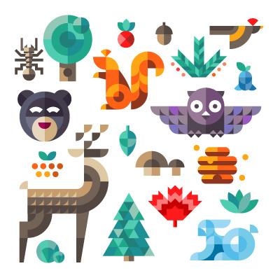 Ff #illustration #geometric #animals