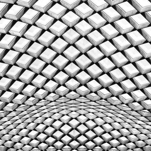 archinbetween:Flowing Diagrid |Â SunsetSamCourtyard ceiling of the National Portrait Gallery in Washington, D.C. #geometry #cubes