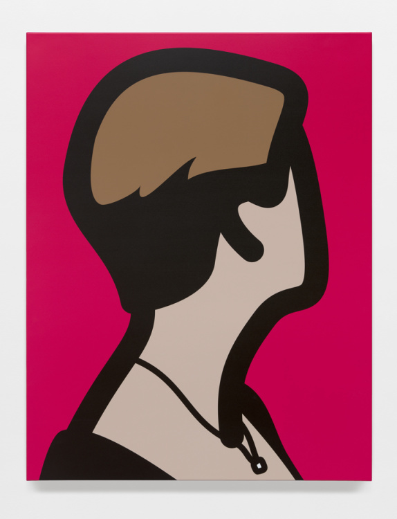 Julian Opie - Lyn with black dress and diamond necklace