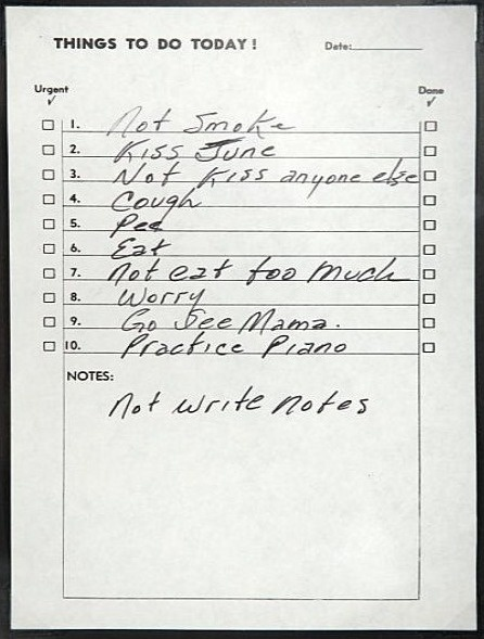Things To Do Today! This is Johnny Cash's to do list. #handwriting #notes