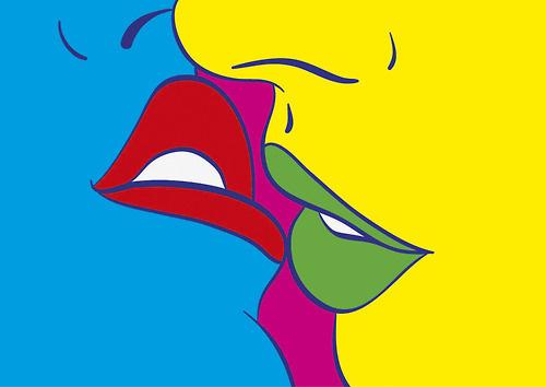 Kiss cinco by Adria Molins Design Barcelona #beso #couple #pink #besos #yellow #lips #illustration #closeup #labios #jetaime #green #amor #design #barcelona #love #kisses #illustrator #tequiero #arts #adriamolins #blue #amore #art #street #amour #kiss