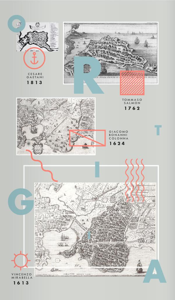 Illustrated map of Ortigiaitaly #type