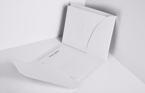 Zaha Hadid Folder #branding #logo #identity #motherdesign #julestardy #architecture #book #blindemboss #print #spread #layout