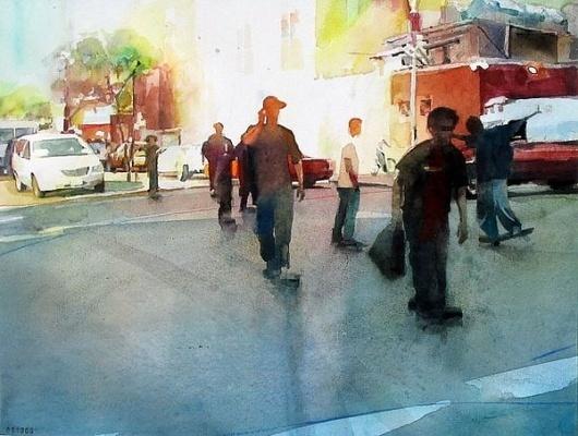 christopher st. leger - tee hee roller #urban #city #painting #street #skateboard #watercolor
