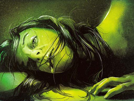 SabrinaSmelko_VOA_02 #woman #girl #graphic #hair #illustration #painting #green