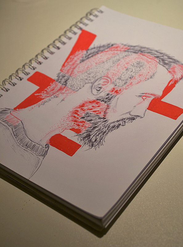 Volte | Flickr - Photo Sharing! #type #typography #man #face #protrait #pen #pencil #sketch #sketchbook #black #white #red #beard #mohican #