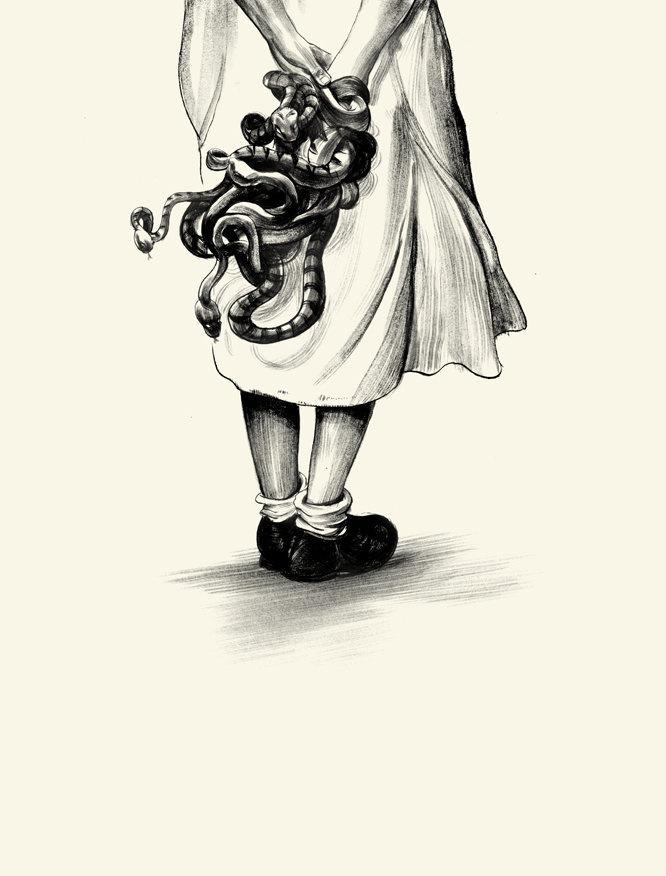 ©GREG RUTH #snakes #white #girl #horror #black #illustration #strange #and #drawing #scary