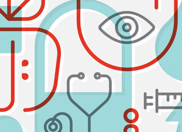 oco health 6 #red #icon #health #simple #poster #gray #teal #brue